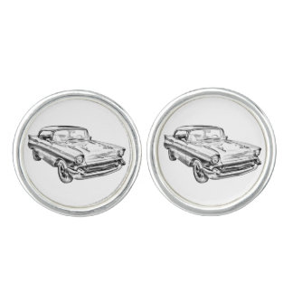 1957 Chevy Bel Air Classic Car Illustration Cufflinks
