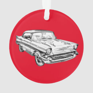1957 Chevy Bel Air Classic Car Illustration Ornament