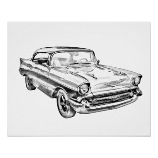 1957 Chevy Bel Air Classic Car Illustration Poster