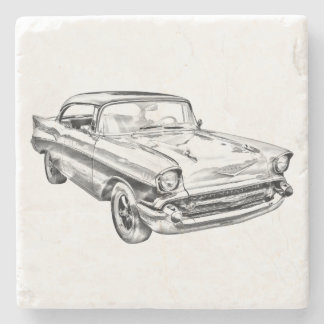 1957 Chevy Bel Air Classic Car Illustration Stone Coaster