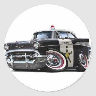 1957 Chevy Belair Police Car Classic Round Sticker