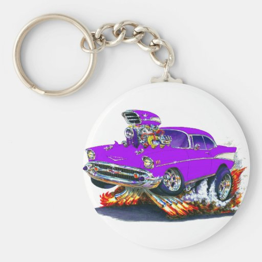 1957 Chevy Belair Purple Car Basic Round Button Keychain
