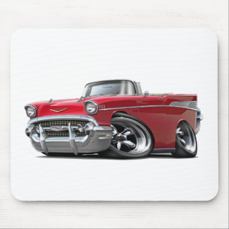 1957 Chevy Belair Red Convertible Hot Rod Mouse Pad