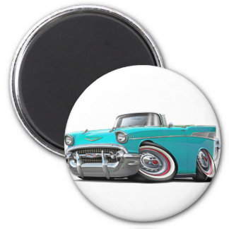 1957 Chevy Belair Turquoise Convertible 2 Inch Round Magnet