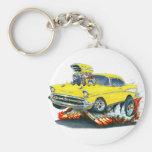1957 Chevy Belair Yellow Car Basic Round Button Keychain