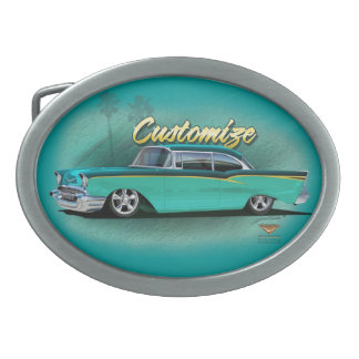 1957 chevy hot rod belt buckle customize torquois