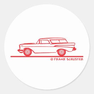1957 Chevy Nomad Bel Air Classic Round Sticker