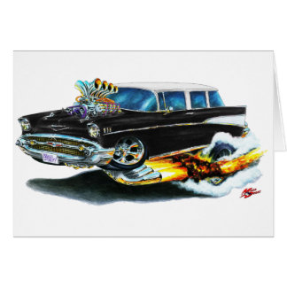 1957 Chevy Nomad Black Car Card