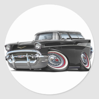 1957 Chevy Nomad Black Car Classic Round Sticker