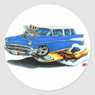 1957 Chevy Nomad Blue Car Classic Round Sticker