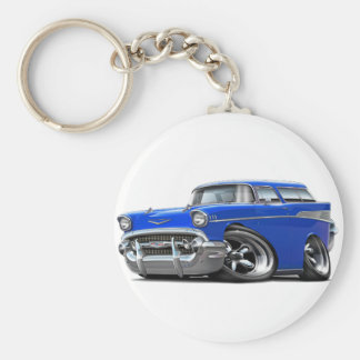 1957 Chevy Nomad Blue Hot Rod Keychain
