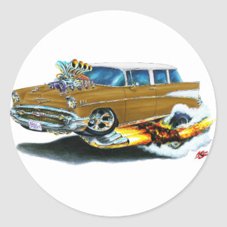 1957 Chevy Nomad Brown Car Classic Round Sticker