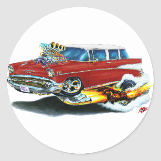 1957 Chevy Nomad Maroon Car Classic Round Sticker