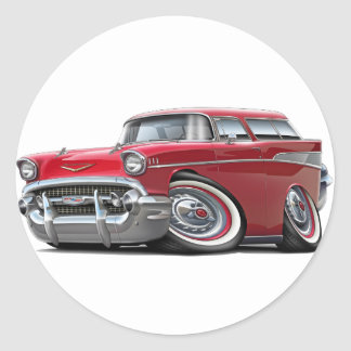 1957 Chevy Nomad Red Car Classic Round Sticker