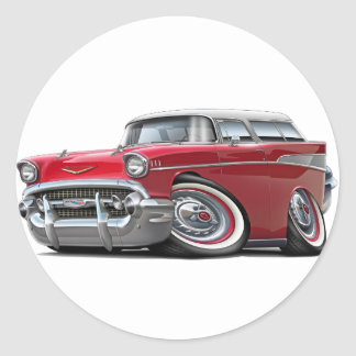1957 Chevy Nomad Red-White Car Classic Round Sticker