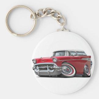 1957 Chevy Nomad Red-White Car Basic Round Button Keychain