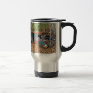 1957 Chevy Nomad Rusting in Wooded Junkyard Travel Mug