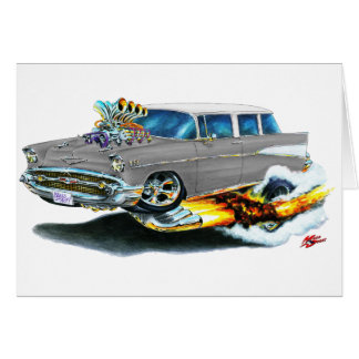 1957 Chevy Nomad Silver Car Card