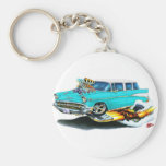 1957 Chevy Nomad Turquoise Car Basic Round Button Keychain