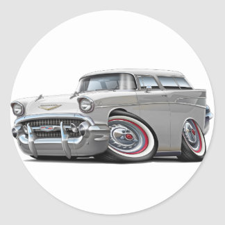 1957 Chevy Nomad White Car Classic Round Sticker