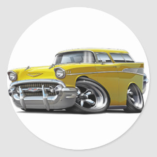 1957 Chevy Nomad Yellow Hot Rod Classic Round Sticker