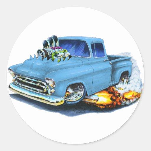 1957 Chevy Pickup Lt Blue Classic Round Sticker