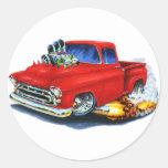 1957 Chevy Pickup Red Classic Round Sticker