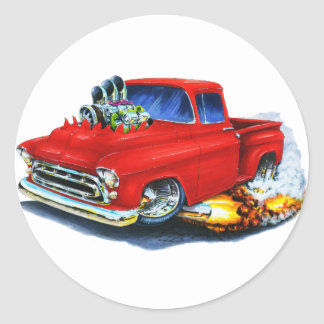 1957 Chevy Pickup Red Classic Round Sticker