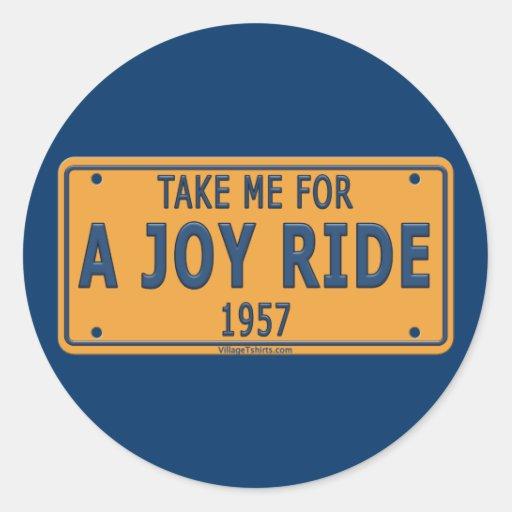 1957 Joy Ride Car Classic Round Sticker