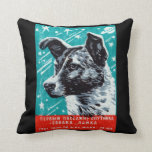 1957 Laika The Space Dog Throw Pillow at Zazzle