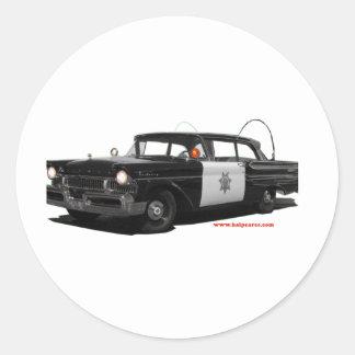 1957-mercury-monterey-highway-patrol-car classic round sticker