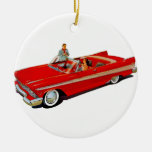 1957 Plymouth Belvedere Convertible Coupe Double-Sided Ceramic Round Christmas Ornament