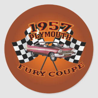 1957 Plymouth Fury Coupe Stickers. Classic Round Sticker
