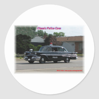 1957 Pontiac Laurentian Police Car Classic Round Sticker