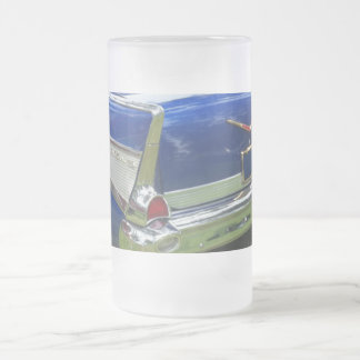 1957 rear fin in deep metalic blue frosted glass beer mug