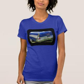 1957 rear fin in deep metalic blue t shirt