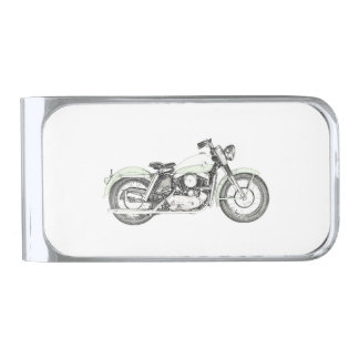 1957 Sportster Motorcycle Illustration Silver Finish Money Clip