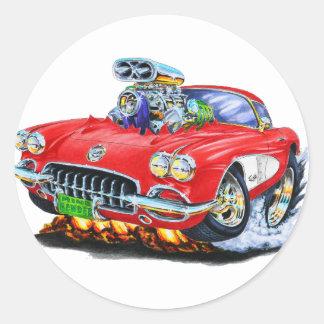 1958-60 Corvette Red Car Round Sticker