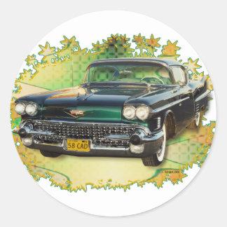 1958 CADILLAC #2 CLASSIC ROUND STICKER