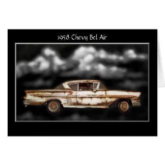 1958 Chevy Bel Air,junkyard car,classic car,rusty Card