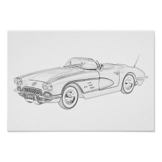 1958 Chevy Corvette Poster
