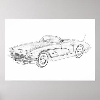 1958 Chevy Corvette Poster