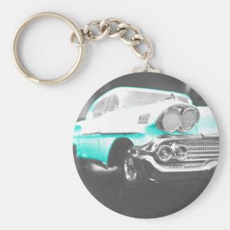 1958 chevy impala bright blue classic car basic round button keychain
