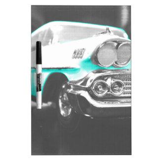 1958 chevy impala bright blue classic car dry erase board