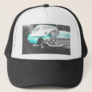 1958 chevy impala bright blue classic car trucker hat
