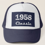 "1958 Classic 60th Birthday Celebration Trucker Hat<br><div class=""desc"">1958 Classic 60th Birthday Celebration Collection. Dark Blue background for a retro look sixtieth birthday celebration design.  Customize the year 1958 to make this a one of a kind personalized gift. Great design from TLS Designs.</div>"