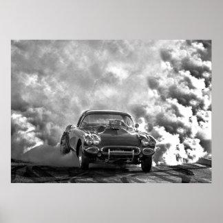 1958 corvette burn out poster