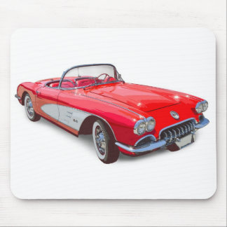 1958 Corvette Convertible Red Classic Car Mouse Pad