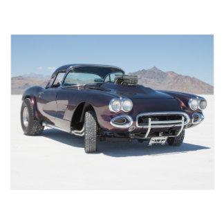 1958 corvette race car on the salt flats postcard