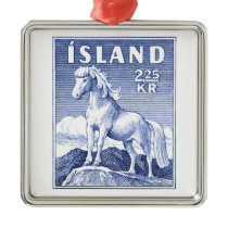 1958 Icelandic Horse Postage Stamp Metal Ornament